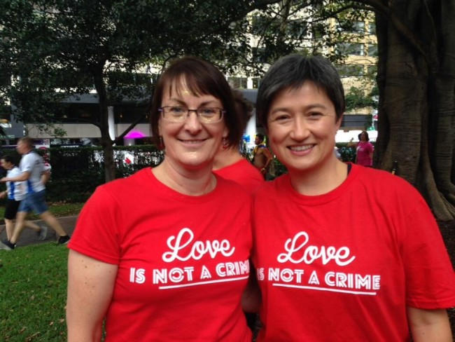 Susan Templeman (left) and Penny Wong at the 2014 Sydney Gay and Lesbian Mardi Gras.
