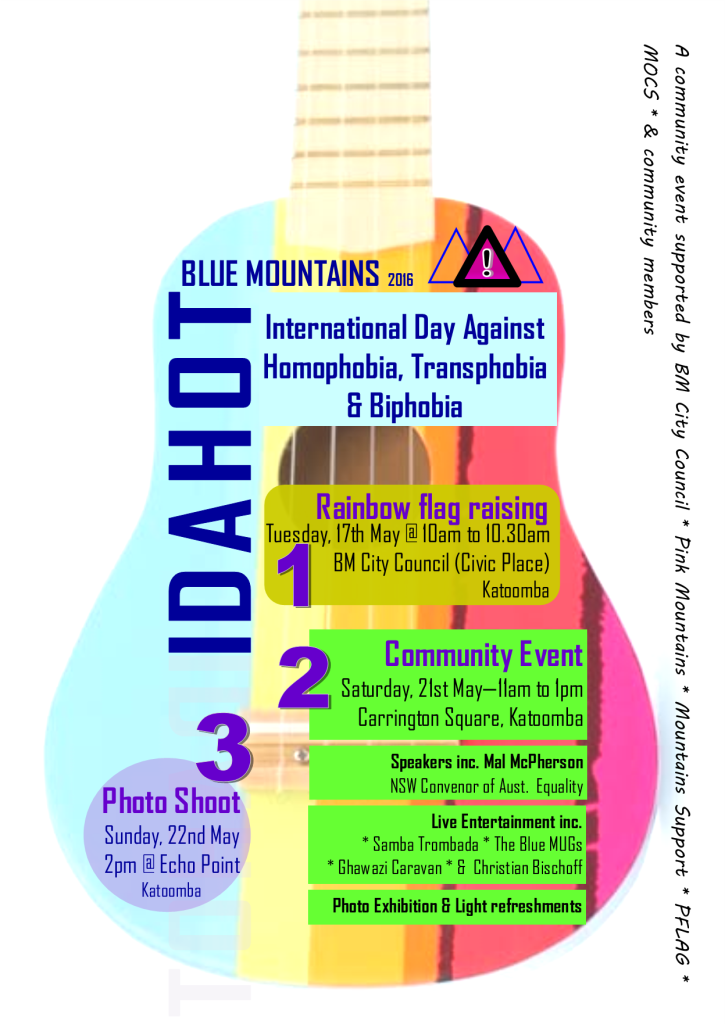 The IDAHOT Blue Mountains 2016 flyer.