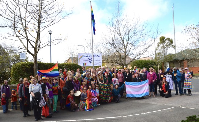 The 2015 IDAHOT flag-raising ceremony in Katoomba. Pic: supplied.